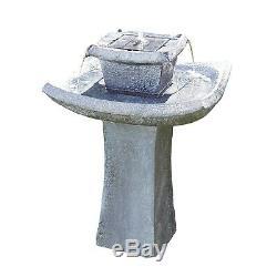L'eau En Cascade De Pagoda Comporte L'ornement Alimenté Solaire 72cm En Pierre De Fontaine De Jardin