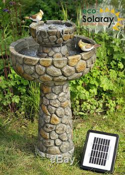 La Fontaine D'eau De Birdbath De 2 Niveaux Comportent Le Jardin D'effet De Pierre Pavé Actionné Solaire