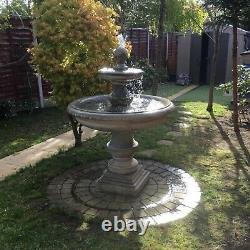 Limestone Large Regis 2 Tiered Water Fountain Feature Garden Ornament