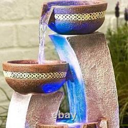 Lumières Led Modernes Caractéristiques De L'eau 4 Bols Affichage De Fontaine De Chute D'eau De Jardin