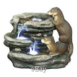 Lumineux Waters Loutres Cascading Paisible Méditative Jardin Fontaine Sculpture