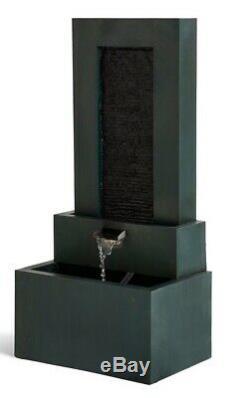 M & S 3 Tier Lit Dark Green Water Garden Feature Fountain Nouveau Rrp £ 279
