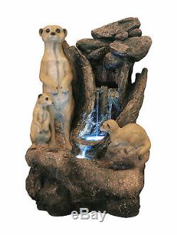 Meerkat Rock Falls Fontaine D'eau En Cascade Avec Lumières Led Jardin Extérieur