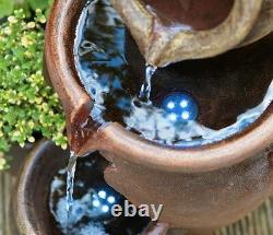 Miel Pot Cascading Jugs Fontaine Garden Planter Caractéristique De L'eau Avec Lumières Led