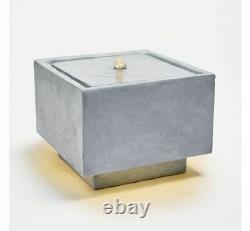 Moderne Led Cube Caractéristique De L'eau Square Stone Effet Jardin Extérieur Patio Fontaine