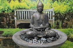 Nombreux, Grand Bouddha Fontaine D'eau Ornement De Jardin Statue Soalr Pompe
