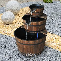 Outsunny En Bois Fontaine Pompe À Eau Cascading Feature Barrel 3 Tier Garden Plate-forme