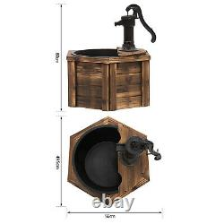Outsunny Woodenelectric Water Fountain Garden Ornament Withhand Pump Vintage Style