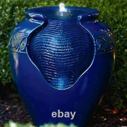 Peaktop Outdoor Garden Patio Blue Led Pot Water Fountain Feature Yg0036az-royaume-uni
