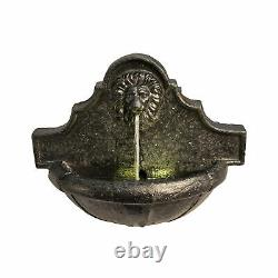 Peaktop Outdoor Garden Patio Wall Lion Led Water Fountain Feature Vfd8433-royaume-uni