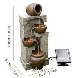 Peaktop Solar Power Fontaine D'eau Jardin Bronze Caractéristique De L'eau Lumières D'ornement