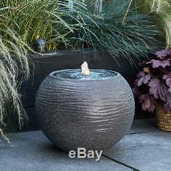 Pierre Sphère D'eau Globe Feature Bowl Jardin Fontaine 36cmplug Dans Led Lights4fun