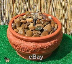 Piscine D'eau Caractéristiques Pebble Fountain Garden Patio Extérieur Bowl Couleur Terracotta