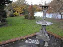 Plan D'eau De Fontaine D'eau De Jardin Plomb Antique Victorian C1890 Grand Et Lourd