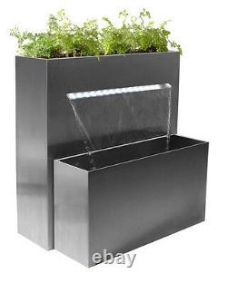 Planter D'acier Inoxydable Caractéristique De Chute D'eau Avec Lumières Jardin Extérieur