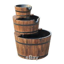 Pompe À Eau En Bois Fontaine 3 Niveau Cascading Feature Barrel Garden Plate-forme