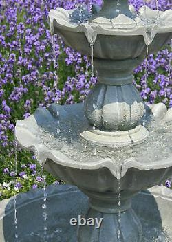 Regal Three Tier Garden Fountain Water Feature 3 Tiered Cascade Patio Extérieur