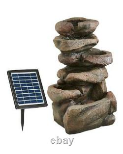 Rock Fall Fountain Garden & Patio Water Feature Solar Powered, Pump +led Light