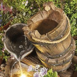 Sérénité Barrel Seau En Cascade Eau Caractéristique Fontaine De Jardin Planteur Ornement