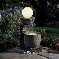 Sérénité Cascade D'eau Bol Caractéristique De La Lumière Du Globe 78cm Ornement De Fontaine De Jardin