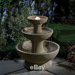 Serenity 3 Tier Cascading Abreuvoirs Feature Led 63cm Fontaine De Jardin D'ornement