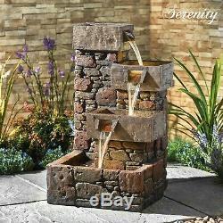 Serenity Cascading Water Caractéristique De L'eau Led 79cm Ornement De Fontaine De Jardin Nouveau