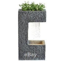 Serenity Cascading Water Planter Led Ornement De Fontaine De Jardin 70cm Nouveau
