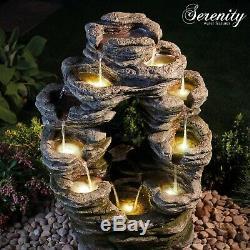Serenity Double Face Led Feature Rocher Cascading Eau 79cm Garden Fountain Nouveau
