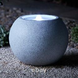 Serenity Garden 35cm Sandstone Sphere Water Feature Led Fontaine Extérieure Nouvelle