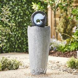 Serenity Garden 88cm Stone-effect Water Feature Led Outdoor Fountain Decor Nouveau