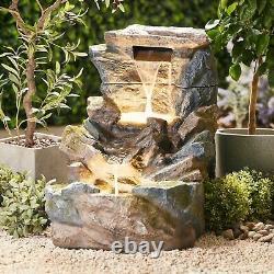 Serenity Garden Rock Pool Cascading Water Feature Led Fontaine Extérieure 81cm Nouveau