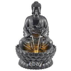 Serenity Garden XL Bouddha Caractéristique De L'eau Statue Led Fontaine Extérieure Decor 136cm