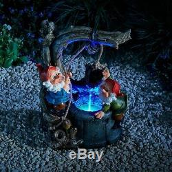 Serenity Gnome Cascade Eau Caractéristiques Led 33cm Intérieur Extérieur Jardin Fontaine Nouveau