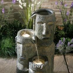 Serenity Outdoor Garden Fontaine Island Head Statue Cascade Caractéristique De L'eau 73cm
