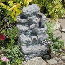 Serenity Rockfall Water Feature Jardin Fontaine En Cascade Led Intérieur Extérieur Nouveau