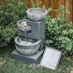 Slat Falls Woodland Water Feature Jardin Extérieur Fontaine Led 220v/solaire Alimentée