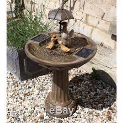 Smart Solaire Famille De Canard Parasol Solaire De Jardin Fontaine D'eau Feature Bird Bath