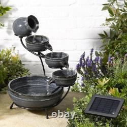 Smart Solar Powered Aphrodite 4-tier Cascade Ceramic Water Fountain Granite