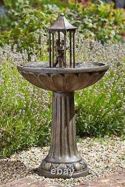 Smart Solar Powered Dancing Couple Fountain Garden Water Feature Bronze Extérieur