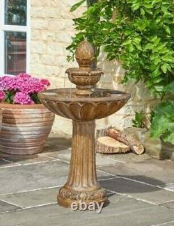 Smart Solar Powered Queensbury Fountain Stone Effect 3 Tier Caractéristique De L'eau