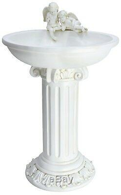 Solaire Chérubin Ange Birdbath Table De Jardin Grave Accueil Bird Bath Fontaine D'eau