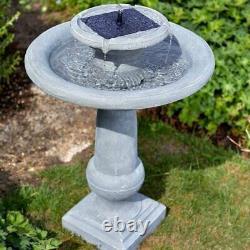 Solar Garden Fontaine Cascading Double Goutte D'eau Bain D'oiseaux Pierre Extérieure Décor