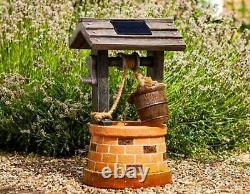 Solar Garden Outdoor Wishing Well Water Barrel Fontaine Bain D'oiseaux Caractéristique Décor