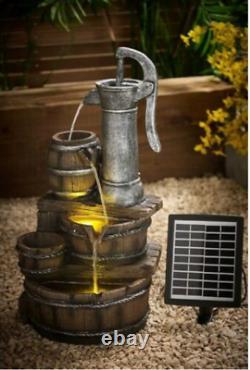 Solar Garden Water Pump Barrel Caractéristique Fontaine Lumière Statue Cascade Ornement /