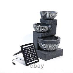 Solar Power Garden 3 Tier Bowls Cascade Fontaine Caractéristique De L'eau Statues Led Lumière