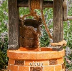 Solar Power Outdoor Wishing Well Water Fountain Bird Bath Feature Garden Décor
