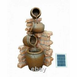 Solar Powered 4 Pots On Wall Garden Water Feature Fontaine Jardin Extérieur