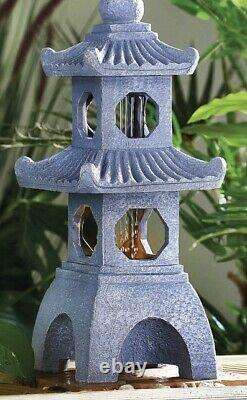 Solar Powered Led Pagoda Water Feature Jardin Fontaine Statue Ornement