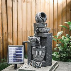 Solar Powered Outdoor Rockery Waterfall Fontaine Led Garden Stone Water Feature