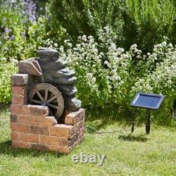 Solar Powered Water MILL Cascade Fountain Caractéristique De L'eau Extérieure
